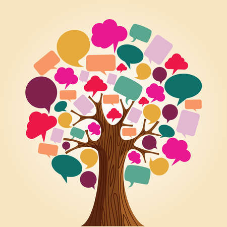 communication: Social network tree with speech bubbles leaves.  illustration layered for easy manipulation and custom coloring. Illustration