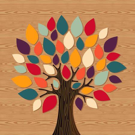 этнический: Разнообразие концепции дерево иллюстрации. многослойный файл для облегчения работы и пользовательские окраску.