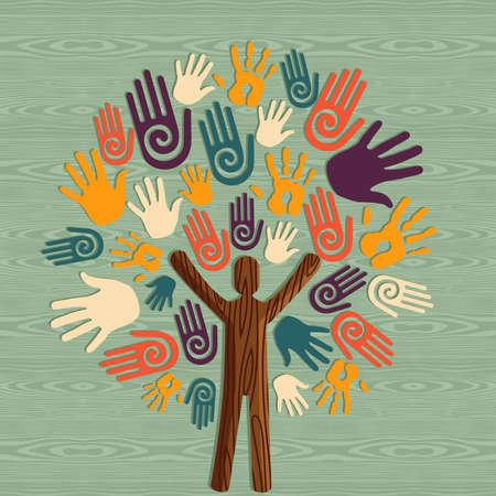 L'homme de la diversité mondiale sous forme d'arborescence mains illustration tronc. fichier en couches pour une manipulation aisée et la coloration personnalisée.