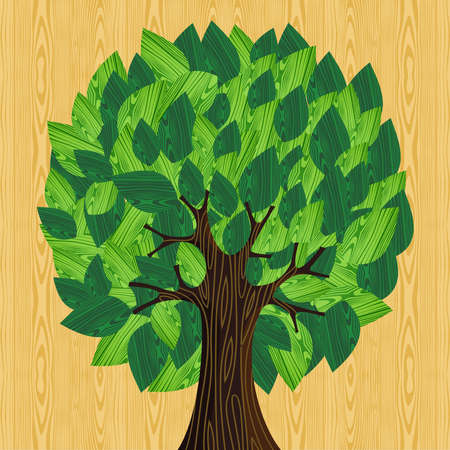 education help: Eco friendly tree with green wooden leaves illustration. file layered for easy manipulation and custom coloring.