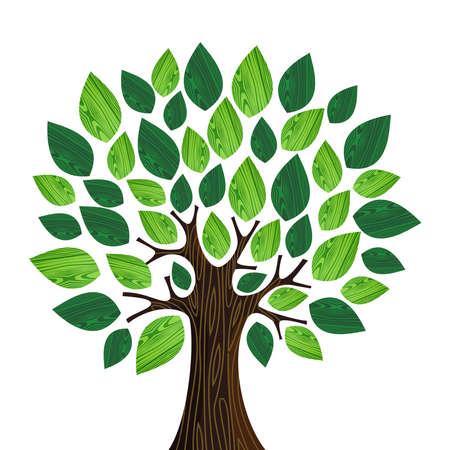 Geïsoleerde Eco vriendelijke boom met groene bladeren houten illustratie. bestand gelaagd voor gemakkelijke manipulatie en aangepaste kleuren.