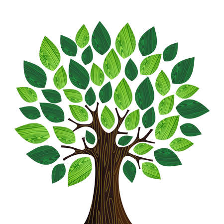 comunidades: �rbol aislado amistoso de Eco con las hojas verdes de madera ilustraci�n. archivo de capas para la manipulaci�n f�cil y colorante de encargo. Vectores