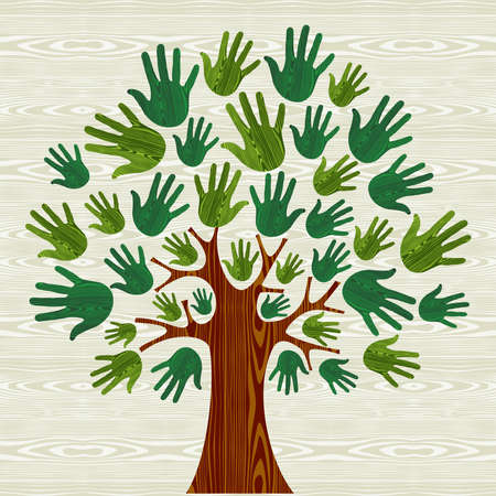 Eco friendly tree hands illustration for greeting card over wooden pattern.  file layered for easy manipulation and custom coloring.