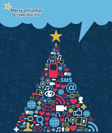 interaccion social: Los medios sociales redes icono situado en Navidad ilustraci�n pino saludo tarjeta de fondo en capas para una f�cil manipulaci�n y colorante de encargo Vectores