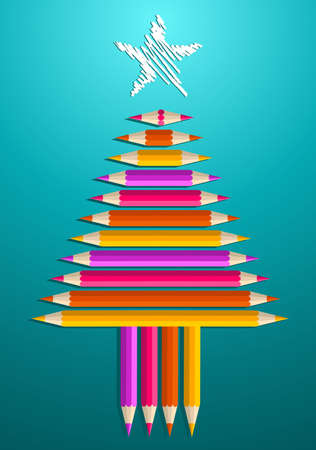 school years: Multi colored art pencils in Christmas pine tree greeting card  illustration layered for easy manipulation and custom coloring
