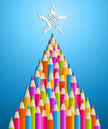 multi layered: Multi colored art pencils in Christmas pine tree greeting card  illustration layered for easy manipulation and custom coloring