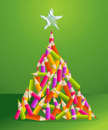 Design and art education pencils in vibrant colors Christmas pine tree greeting card  illustration layered for easy manipulation and custom coloring