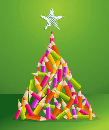 ni�os con l�pices: L�pices de dise�o y el arte de la educaci�n en colores vibrantes ilustraci�n del �rbol de navidad pino tarjeta de felicitaci�n en capas para una f�cil manipulaci�n y colorante de encargo Vectores