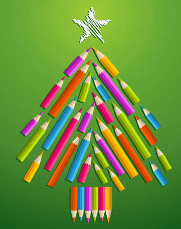 Multi colored art pencils in Christmas pine tree greeting card illustration layered for easy manipulation and custom coloring Stock Vector - 16105315