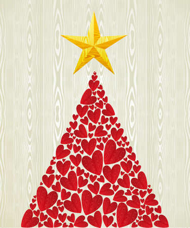 Christmas love heart pine tree over wooden texture pattern background   illustration layered for easy manipulation and custom coloring  Vector