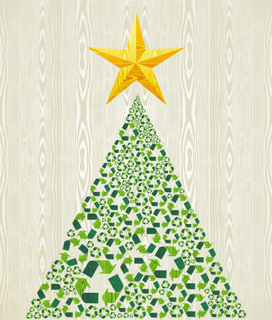 recycle symbol: Christmas recycle pine tree over wooden seamless pattern background   illustration layered for easy manipulation and custom coloring  Illustration