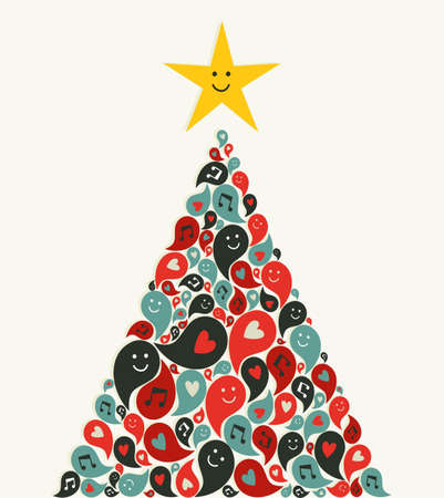 christmas music: Social speech bubbles with Multimedia icons in Christmas pine tree  illustration layered for easy manipulation and custom coloring