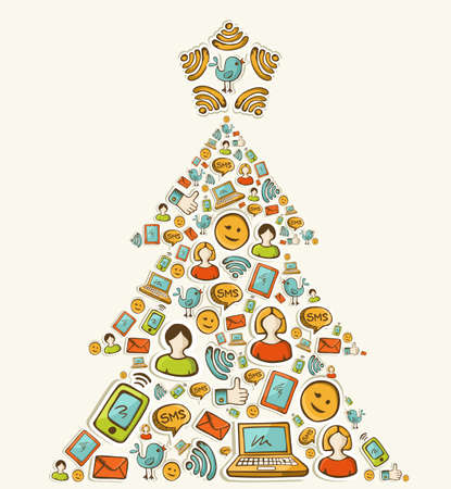 Social media networks icon set in Christmas pine tree  illustration layered for easy manipulation and custom coloring  Vector