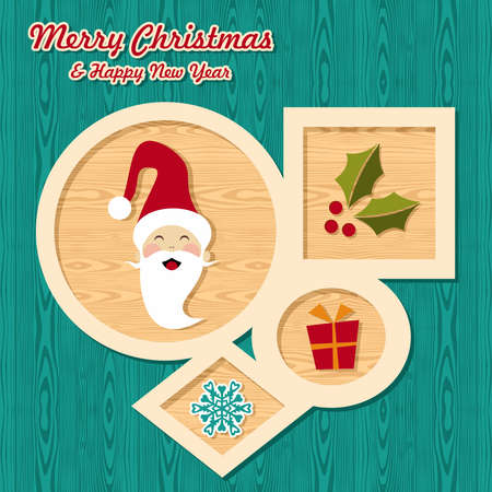 Retro Christmas sale set elements over wooden background  illustration layered for easy manipulation and custom coloring  Vector