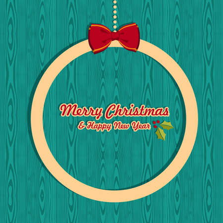 Retro Christmas sale banner card over wooden background  illustration layered for easy manipulation and custom coloring  Vector
