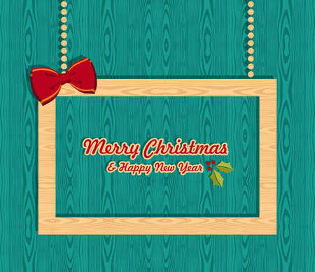 Retro Christmas sale promo banner over wooden background  illustration layered for easy manipulation and custom coloring  Vector