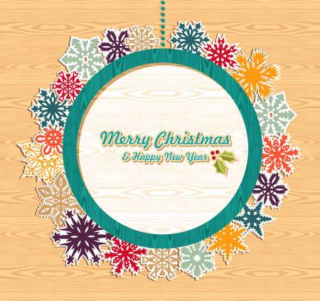 Rétro vente de Noël mis sur l'illustration de fond en bois stratifié pour une manipulation aisée et la coloration personnalisée