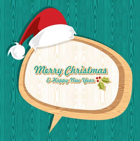 Rétro Noël mis en vente à santa chapeau et social illustration bulle couches pour une manipulation aisée et la coloration personnalisée