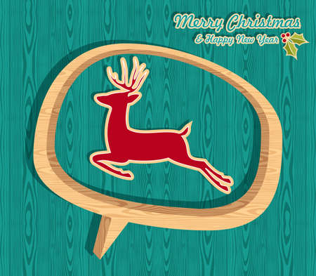 Retro Christmas sale set with jumping deer over wooden speech bubble   illustration layered for easy manipulation and custom coloring  Vector