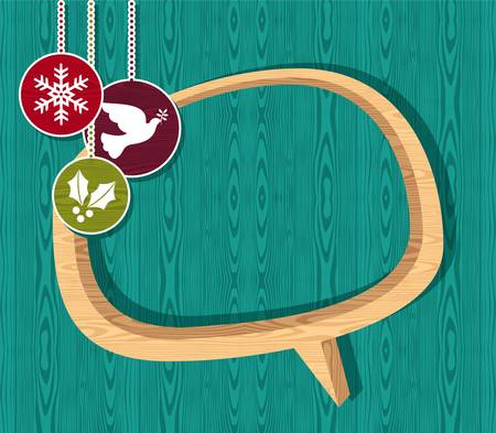 Retro Christmas speech bubble sale set over wooden background  illustration layered for easy manipulation and custom coloring  Vector