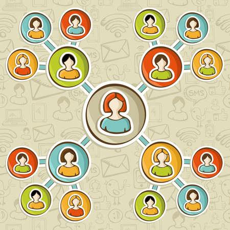 network marketing: Social media marketing online redes diagrama de relaci�n de m�s de croquis patr�n iconos. Personas de usuarios conectados uno a otro. Ilustraci�n vectorial en capas para una f�cil manipulaci�n y coloraci�n personalizada.
