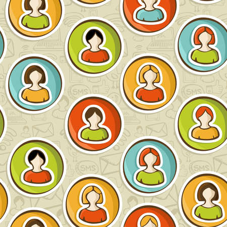 Diversity user people connected to social networks seamless pattern background in sketch style. Vector illustration layered for easy manipulation and custom coloring. Stock Vector - 16307604
