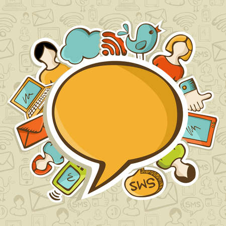 marketing online: Social networks icons around the speech bubble over seamless pattern. Vector illustration layered for easy manipulation and custom coloring.