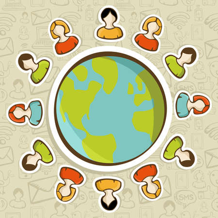 Diversity people teamwork conneciton around the world over pattern background. Vector illustration layered for easy manipulation and custom coloring. Vector