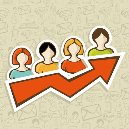 upwards: People profile icons with upwards arrow marketing concept  Vector illustration layered for easy manipulation and custom coloring  Illustration