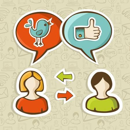 face book: Las redes sociales twitter y facebook redes como iconos de la burbuja del discurso de conectar gente ilustraci�n vectorial en capas para una f�cil manipulaci�n y colorante de encargo