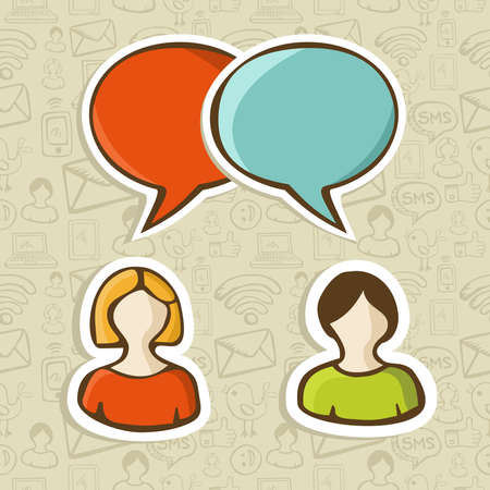 Social media networks users interaction with speech bubbles over pattern  Vector illustration layered for easy manipulation and custom coloring  Vector