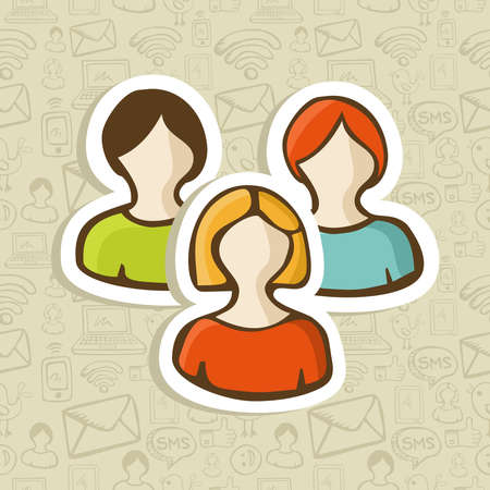 Social user group profile icons over sketch style seamless pattern  Vector illustration layered for easy manipulation and custom coloring  Stock Vector - 16307586
