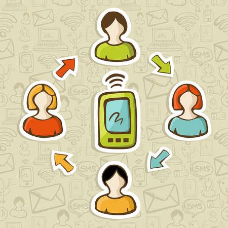 Social media marketing red de personas interacción con la ilustración vectorial teléfono inteligente en capas para una fácil manipulación y colorante de encargo