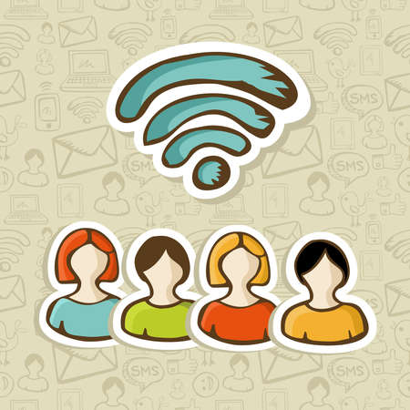 rss feed: Diversity people connection via social networks RSS feed  Vector illustration layered for easy manipulation and custom coloring  Illustration