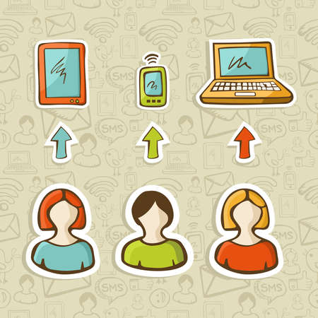 web feed: Computer, tablet and mobile devices connect social network people over sketch icons pattern   Vector illustration layered for easy manipulation and custom coloring  Illustration