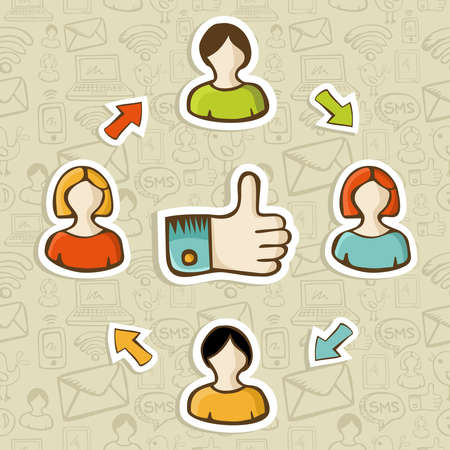 workgroup: Thumb up friendship social media diagram over seamless pattern background  Vector illustration layered for easy manipulation and custom coloring