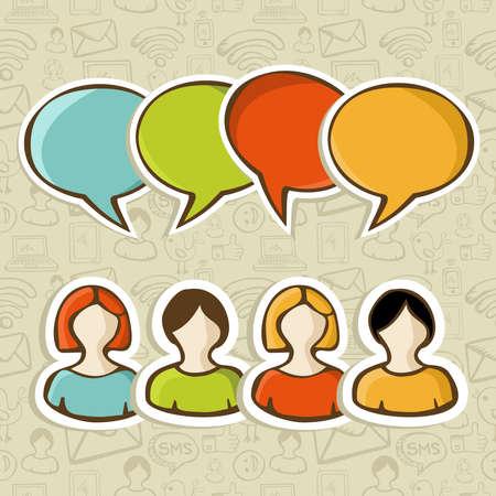 conectividad: Medios de comunicaci�n social las personas de conexi�n con la burbuja discurso sobre m�s de conjunto de iconos Ilustraci�n vectorial de fondo de capas para una f�cil manipulaci�n y colorante de encargo Vectores
