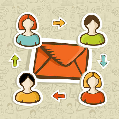 connectivity concept: Email marketing campaign diversity people connection over social icons pattern  Vector illustration layered for easy manipulation and custom coloring