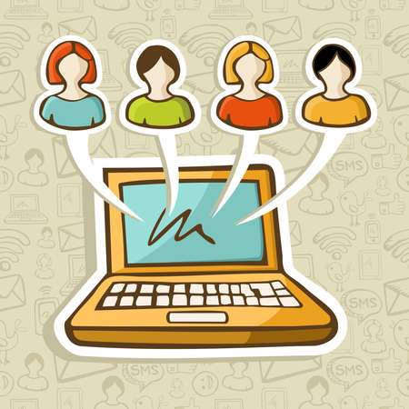 Social media people profiles online connection over icon set in sketch style pattern  Vector illustration layered for easy manipulation and custom coloring  Vector