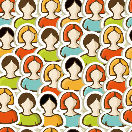connectivity concept: User profile People seamless pattern background  Vector illustration layered for easy manipulation and custom coloring