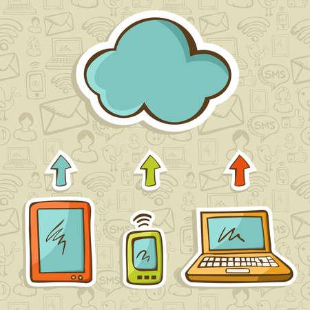 computadora caricatura: Tablet, el ordenador y los dispositivos de nube de computaci�n m�vil conectado ilustraci�n vectorial en capas para una f�cil manipulaci�n y colorante de encargo