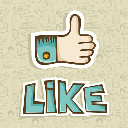 i net: I like hand with thumb up in sketch style over pattern background  Vector illustration layered for easy manipulation and custom coloring  Illustration