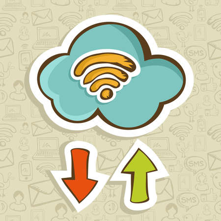 Cloud computing cartoon icon with download and upload arrow  Vector illustration layered for easy manipulation and custom coloring  Vector