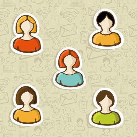 Diversity social media user profile icons in scketch style over seamless pattern  Vector illustration layered for easy manipulation and custom coloring  Vector