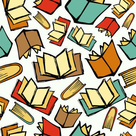library book: Colorful sketch style books seamless pattern background. Vector illustration layered for easy manipulation and custom coloring.