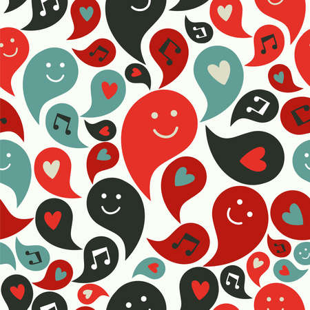 Happy musical smiley faces in speech bubbles seamless pattern background. Vector file layered for easy manipulation and custom coloring Vector
