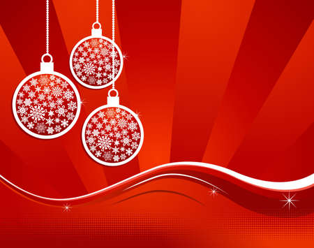 Christmas hanged baubles over red background. Vector illustration layered for easy manipulation and custom coloring. Stock Vector - 16307623