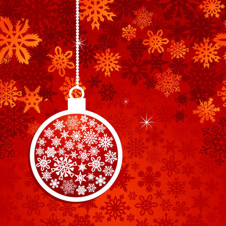 Hang christmas bauble over red snowflake horizontal seamless pattern. Vector illustration layered for easy manipulation and custom coloring. Stock Vector - 16307627