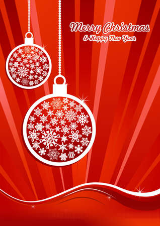 Christmas hanged snowflakes baubles over sunrise waving background. Vector illustration layered for easy manipulation and custom coloring. Stock Vector - 16307617