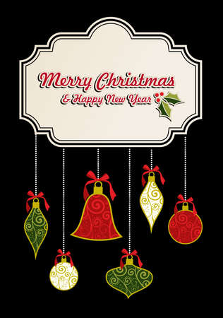 Merrry Christmas retro greeting card template. Vector illustration layered for easy manipulation and custom coloring. Stock Vector - 16307614